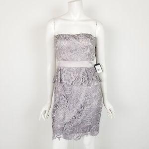 NWT Adrianna Papell Strapless Peplum Lace Dress 4